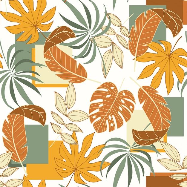幾何学的図形と熱帯の葉のトレンドのシームレスパターン Premiumベクター