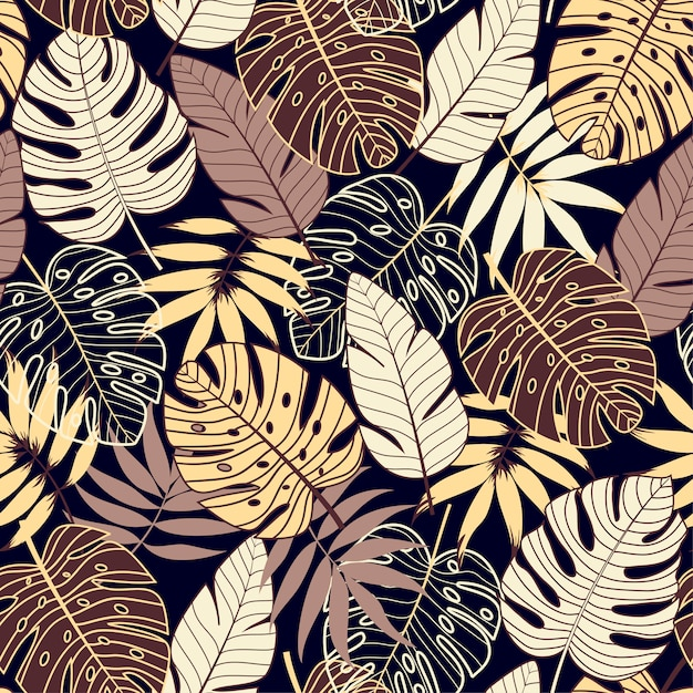 暗い背景に熱帯植物とカラフルなシームレスパターン Premiumベクター