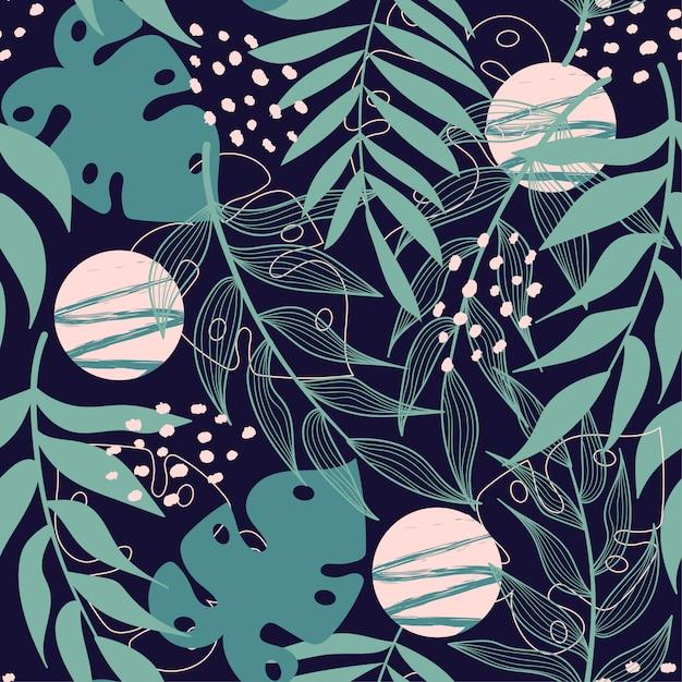 熱帯の葉とトレンドの抽象的なシームレスパターン Premiumベクター