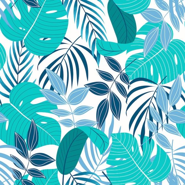 Оригинальный тропический бесшовный узор с бирюзовыми листьями и растениями на светлом фоне Premium векторы