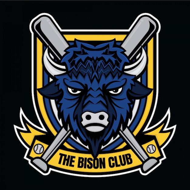 マスコットロゴ野球ザバイソンクラブ Premiumベクター