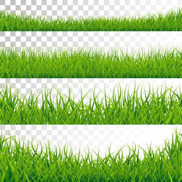 緑の草のボーダーは、透明な背景に設定 Premiumベクター