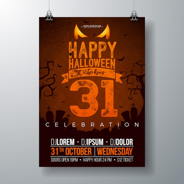 ハロウィンパーティーのチラシ、ベクトル、イラスト Premiumベクター