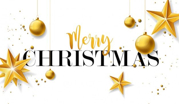 ゴールドのガラス球とスターのメリークリスマスイラスト Premiumベクター