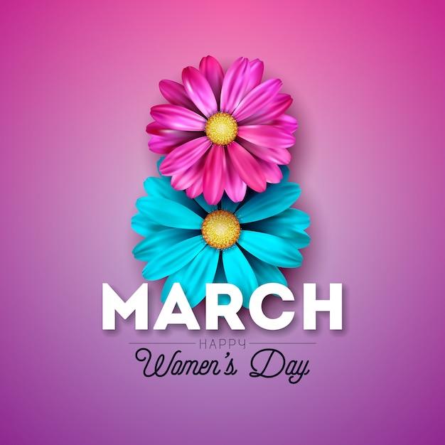 Счастливый женский день цветочный дизайн поздравительной открытки Premium векторы