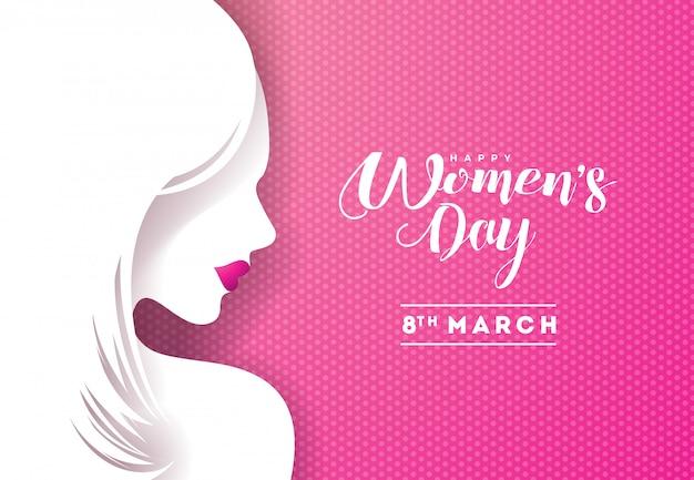幸せな女性の日花グリーティングカードデザイン Premiumベクター
