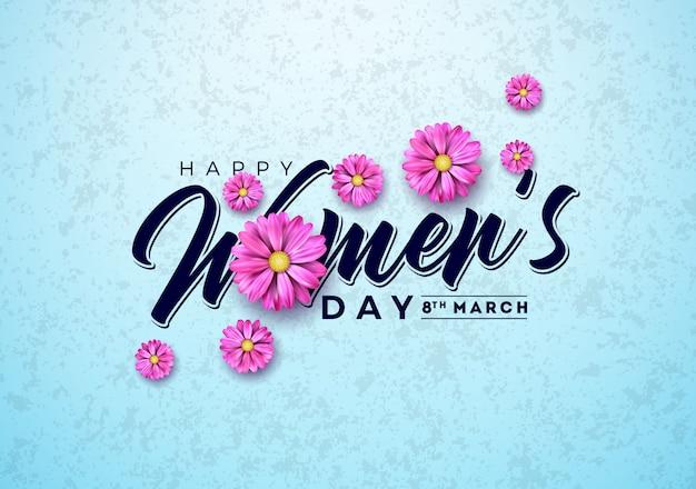 女性の日花とグリーティングカードの花 Premiumベクター