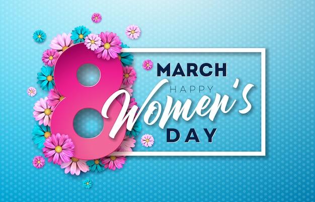 花のデザインと幸せな女性の日イラスト Premiumベクター