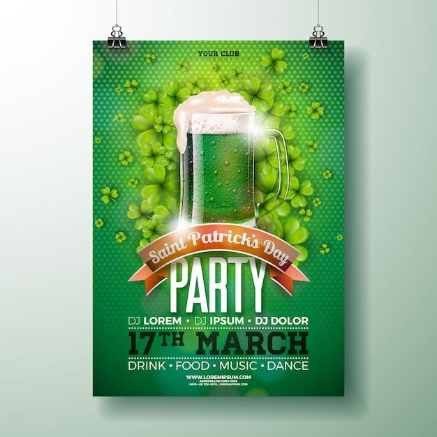 Дизайн флаера для вечеринки в честь дня святого патрика с зеленым пивом Premium векторы