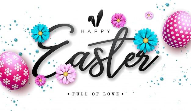 Счастливой пасхи иллюстрация с красным крашеным яйцом и цветком Premium векторы