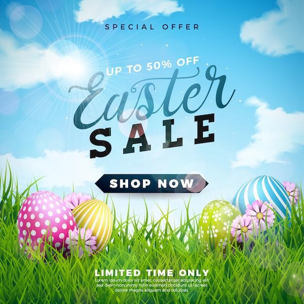 Пасхальная распродажа иллюстрация с цветным яйцом Premium векторы