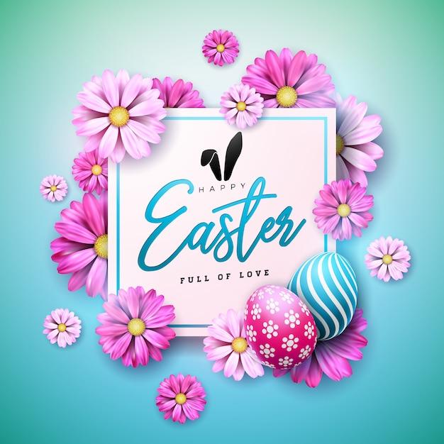 卵と花のハッピーイースターの休日デザイン Premiumベクター
