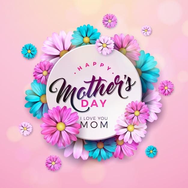 花とタイポグラフィの手紙と幸せな母の日デザイン Premiumベクター