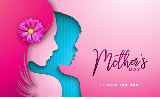 女性と子供の顔のシルエットと幸せな母の日デザイン Premiumベクター