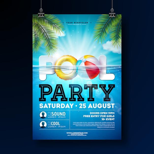 水と夏プールパーティーポスターデザインテンプレート Premiumベクター