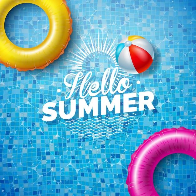 プールの背景にフロートと夏のイラスト Premiumベクター