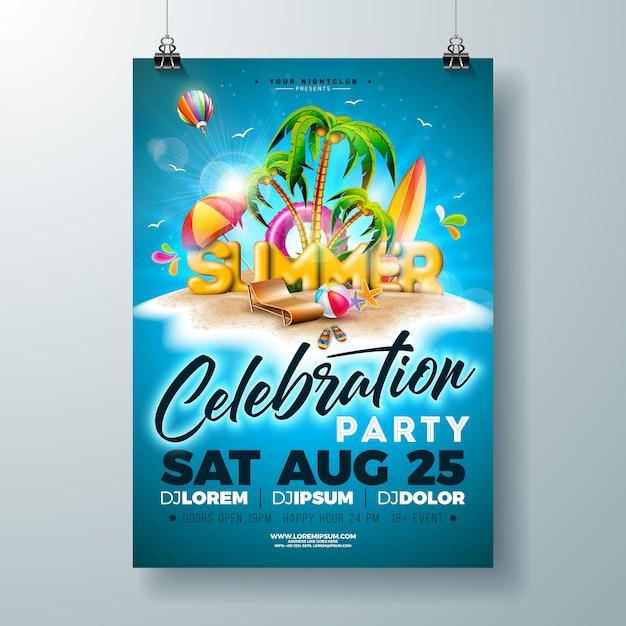 熱帯の島のベクトル夏パーティーチラシやポスターのデザイン Premiumベクター