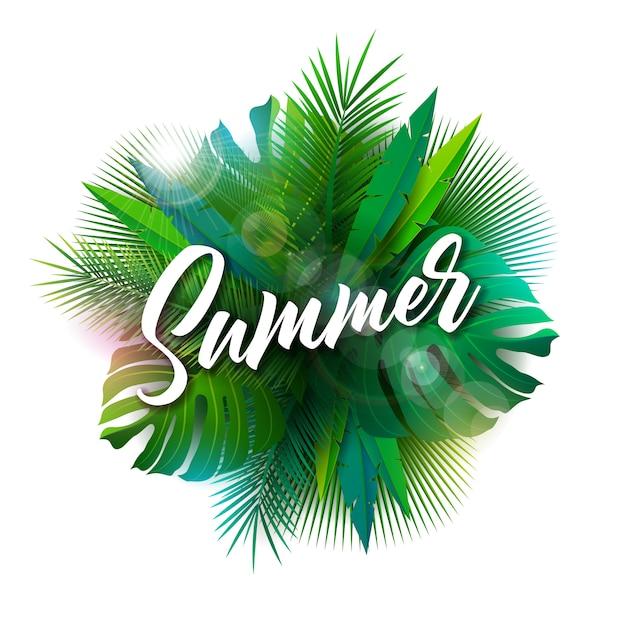 Летняя иллюстрация с типографикой письма и тропических растений Premium векторы