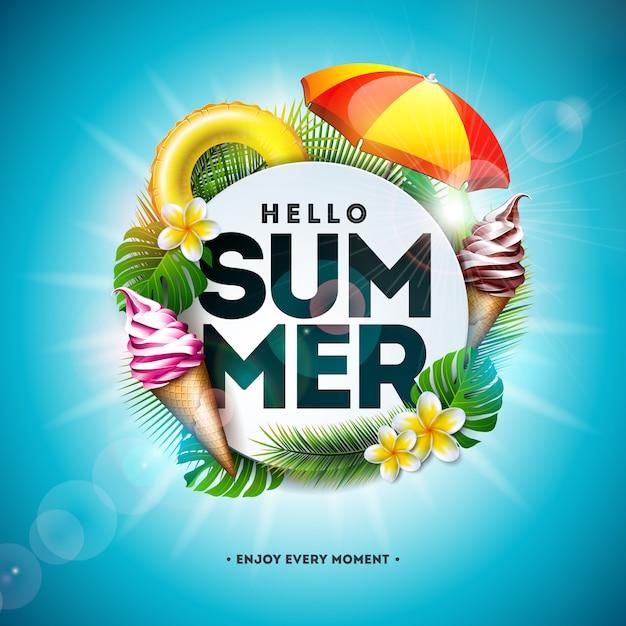 Иллюстрация летнего отдыха с цветком и тропическими пальмовыми листьями Бесплатные векторы