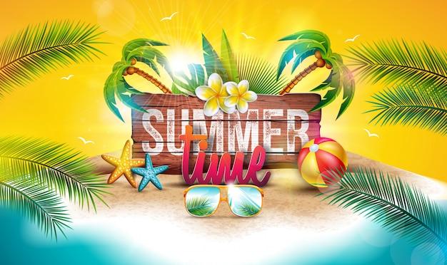 Векторная летняя праздничная иллюстрация с деревянной доской и пальмами Premium векторы