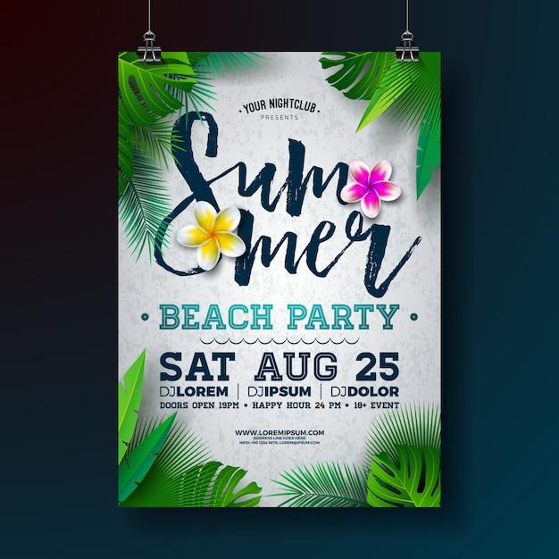 ベクトル夏のビーチパーティーのチラシやポスターテンプレートデザインの花と熱帯のヤシの葉 Premiumベクター