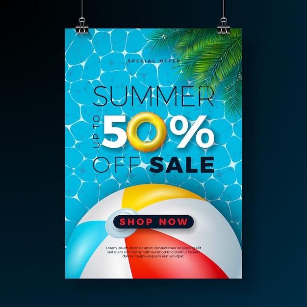 フロートとビーチボールのサマーセールポスターデザインテンプレート Premiumベクター