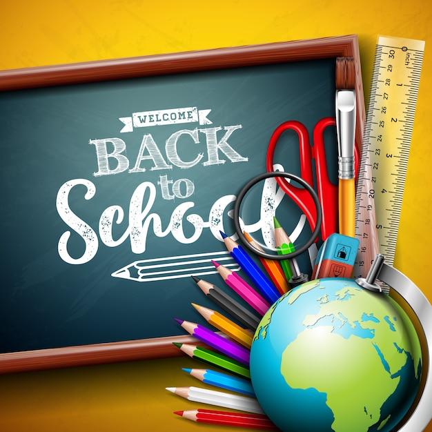 グローブと黄色の背景に黒板学校デザインに戻る Premiumベクター