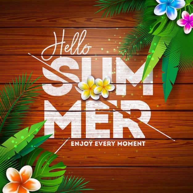 ビンテージウッドの背景に花と熱帯植物の夏の楽園ホリデーデザイン 無料ベクター