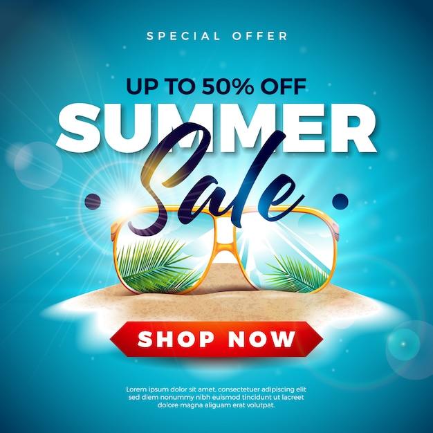 Летняя распродажа с экзотическими пальмовыми листьями в солнцезащитных очках на тропическом острове Бесплатные векторы