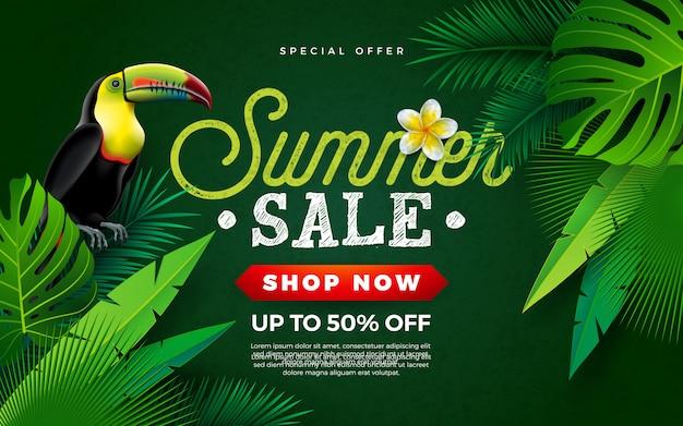 Летняя распродажа дизайна с птицей тукан и тропическими пальмовыми листьями Premium векторы