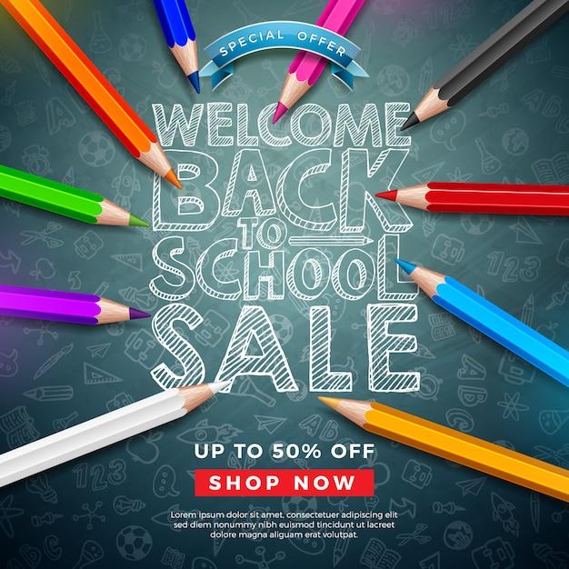 カラフルな鉛筆と黒板にタイポグラフィの手紙とスクールセールバナーに戻る Premiumベクター