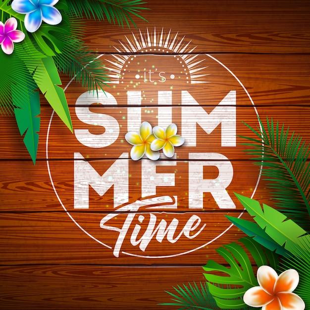 ビンテージウッドの背景に花と熱帯植物の夏の楽園の休日 無料ベクター