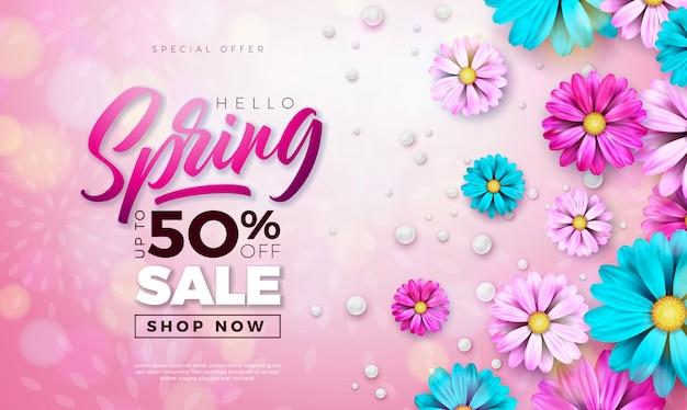 春のバナー。タイポグラフィの手紙と花のデザインテンプレート 無料ベクター