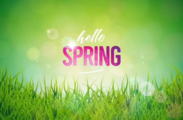 春のテキスト。タイポグラフィの手紙と花のデザインテンプレート 無料ベクター