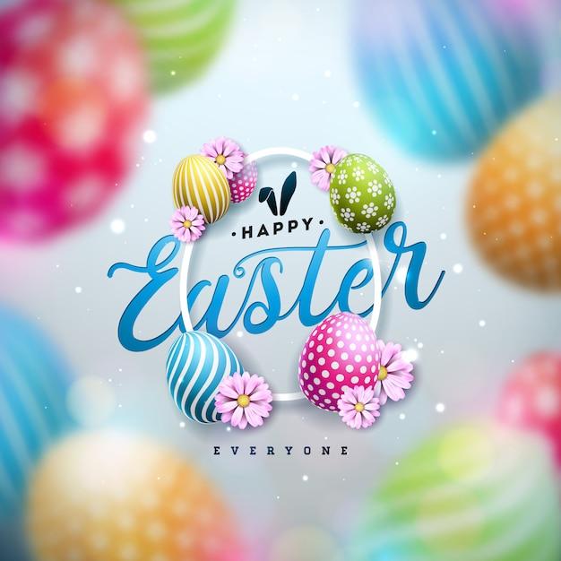 Счастливой пасхи иллюстрация с красочными крашеные яйца и весенний цветок Бесплатные векторы