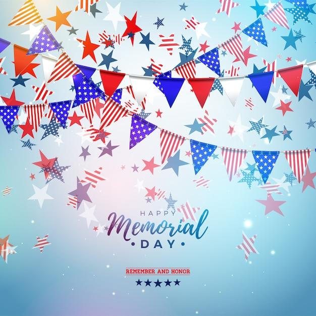 День памяти шаблона дизайна сша с американским флагом партии цвета и падающие звезды на блестящей синем фоне. иллюстрация национального патриотического праздника для баннера или поздравительной открытки Бесплатные векторы