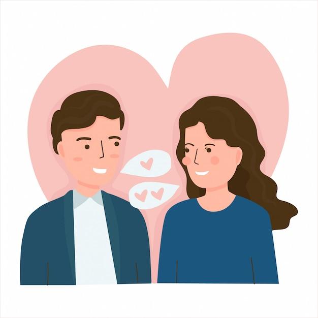 Векторная иллюстрация молодая пара в любви. валентина концепция Premium векторы