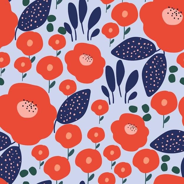 モダンなスタイルの花のシームレスパターン Premiumベクター
