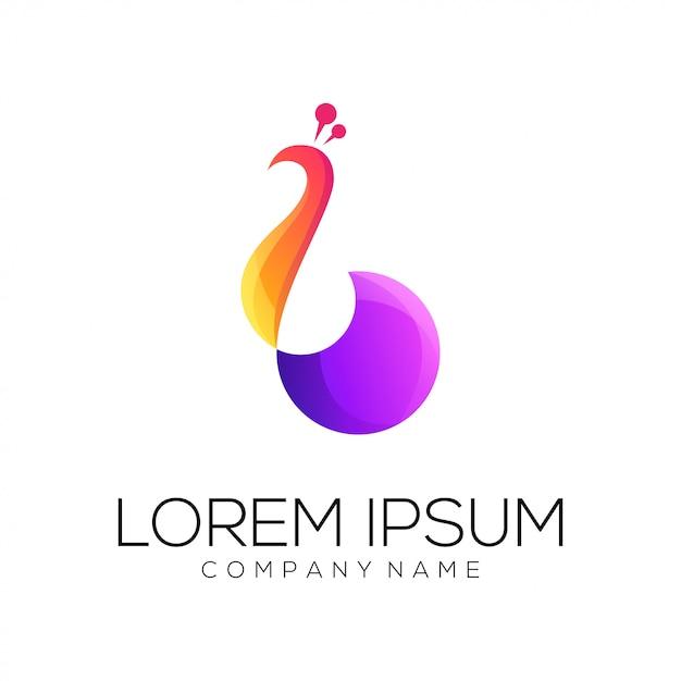 孔雀のロゴデザインのベクトル Premiumベクター