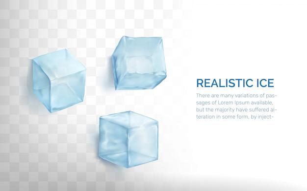 Набор реалистичных кубиков льда. Premium векторы