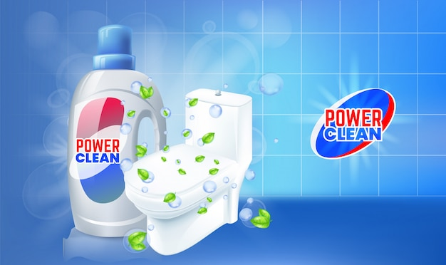 トイレクリーナージェル広告。トイレの上面と現実的なイラスト。 Premiumベクター