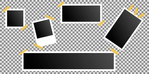 透明の粘着テープに接着されたフォトフレームのセット Premiumベクター
