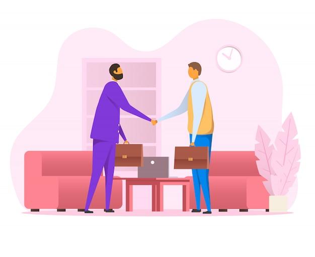 Плоские вектор деловых людей пожать друг другу руки Premium векторы