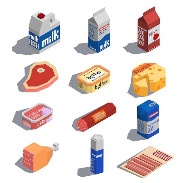 Изометрические иконки фермы пищи Premium векторы