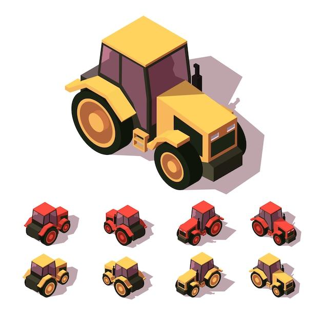 トラクター等尺性のアイコンを設定 Premiumベクター