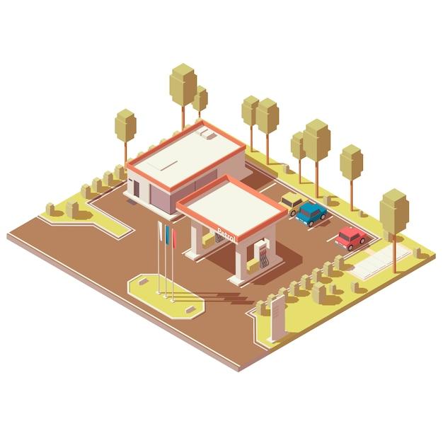 高速道路の燃料補給所の等尺性のアイコン Premiumベクター