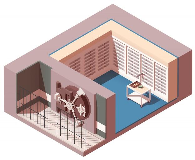銀行の金庫室の等尺性インテリア Premiumベクター