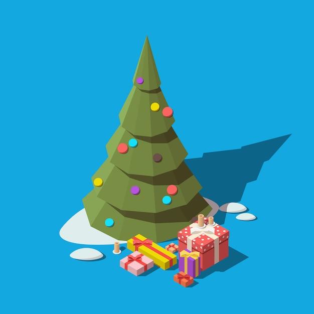 Изометрические елки и подарочные коробки Premium векторы