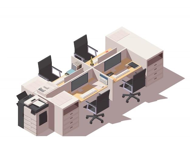 プリンターとコンピューターを備えたオフィスのキュービクル職場 Premiumベクター