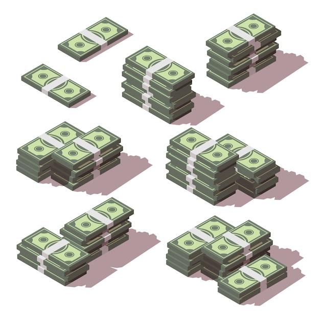 異なる側面のアイコンを設定して積み上げられたお金 Premiumベクター